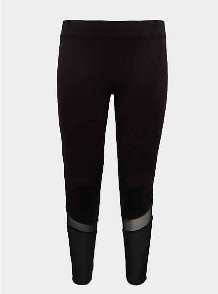 Crop Premium Legging - Mesh & Rib Velvet Inset Black, BLACK, hi-res