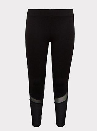 Crop Premium Legging - Mesh & Rib Velvet Inset Black, BLACK, flat