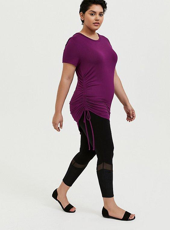 Plus Size Crop Premium Legging - Mesh & Rib Velvet Inset Black, , hi-res