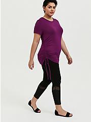 Plus Size Crop Premium Legging - Mesh & Rib Velvet Inset Black, BLACK, hi-res