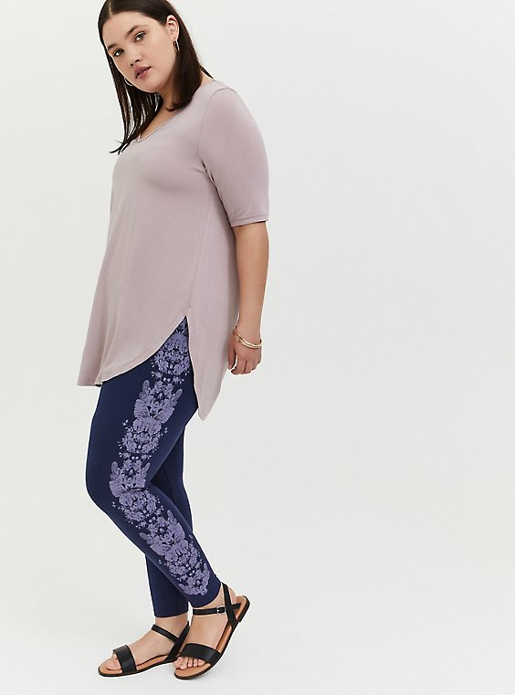 Premium legging - Butterfly Print Purple & Navy, , hi-res