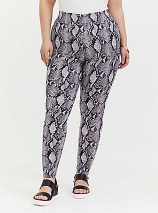Plus Size Premium Legging - Snakeskin Print Purple, ANIMAL, alternate