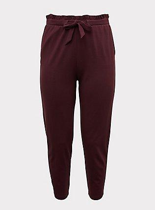 Plus Size Burgundy Purple Ponte Drawstring Paperbag Pant, WINETASTING, flat