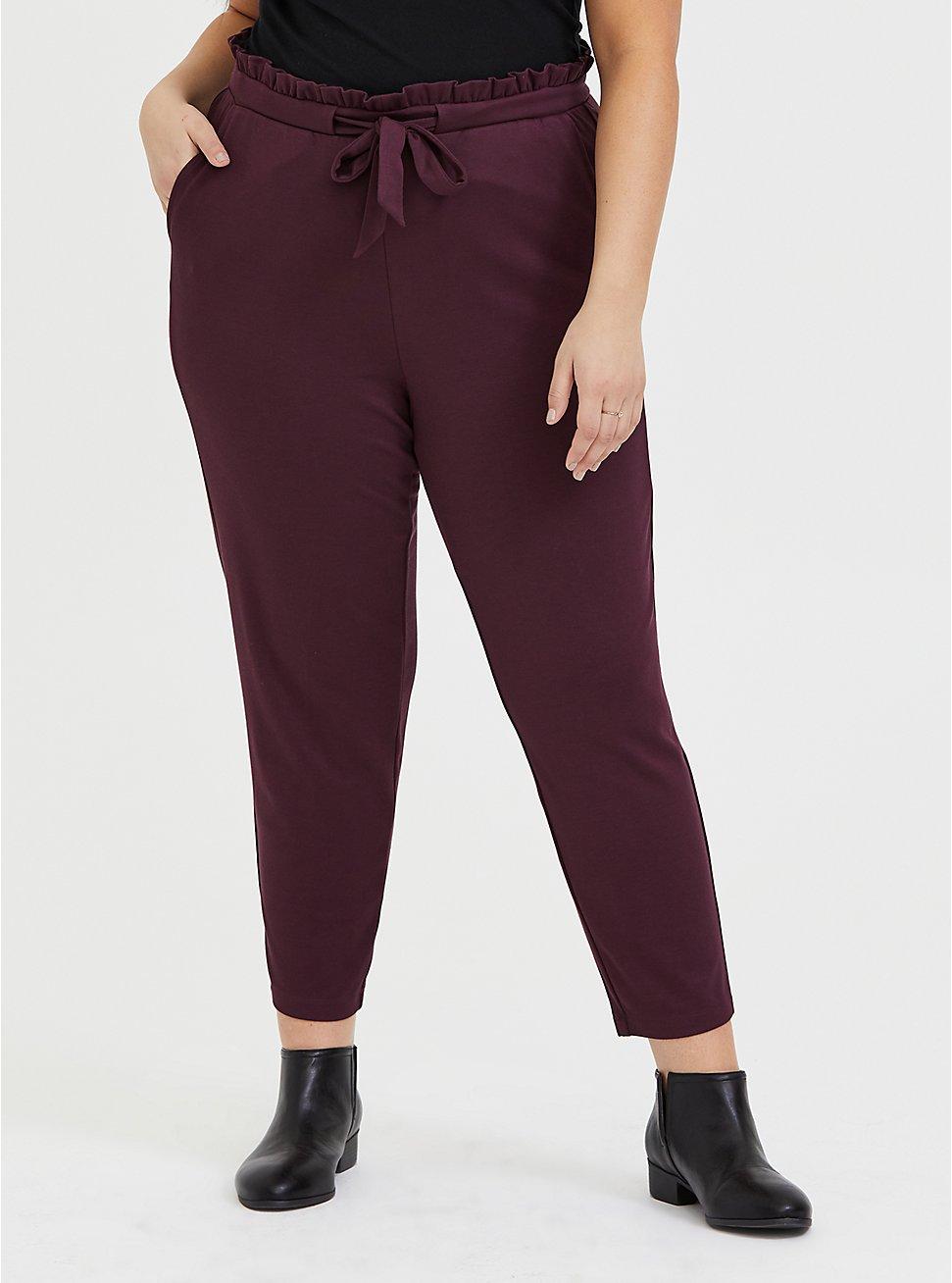 Burgundy Purple Ponte Paperbag Waist Tapered Pant, WINETASTING, hi-res