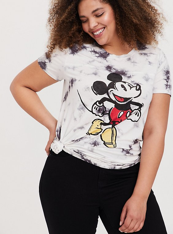 Disney Mickey Mouse White & Black Tie-Dye Crew Top, , hi-res