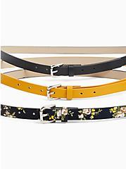 Black Floral Faux Leather Belt Pack - Pack of 3, MULTI, alternate