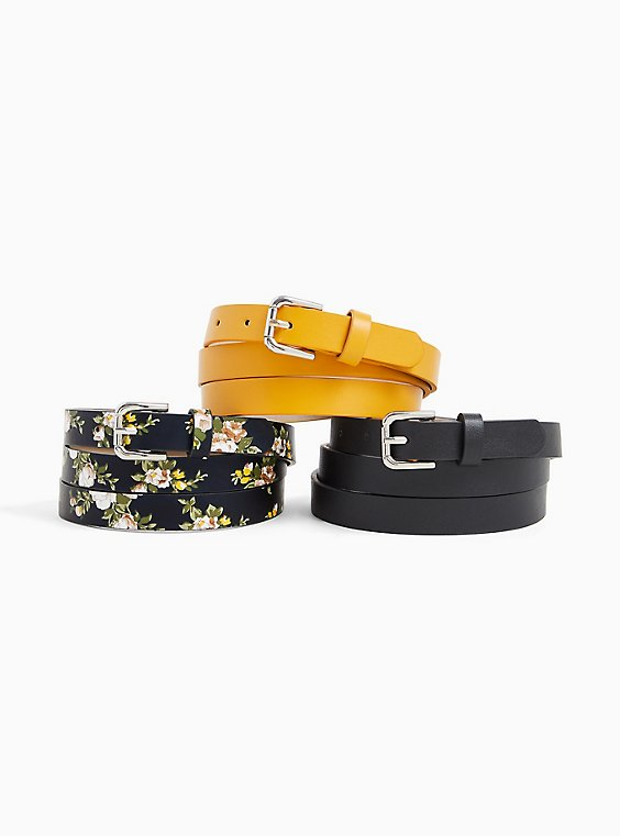 Plus Size Black Floral Faux Leather Belt Pack - Pack of 3, , hi-res