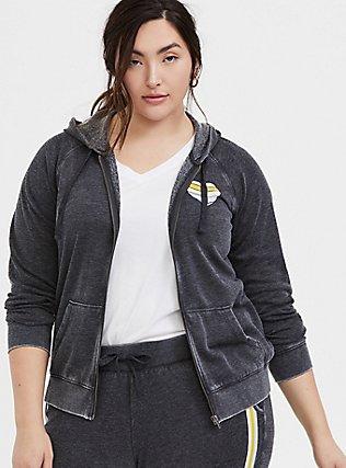 Plus Size Good Vibes Heart Black Burnout Fleece Zip Hoodie, MEDIUM HEATHER GREY, alternate