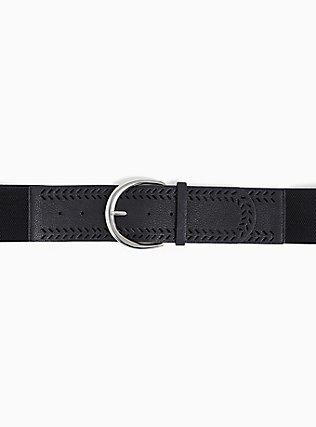 Plus Size Black Textured Faux Leather Stretch Belt, BLACK, alternate