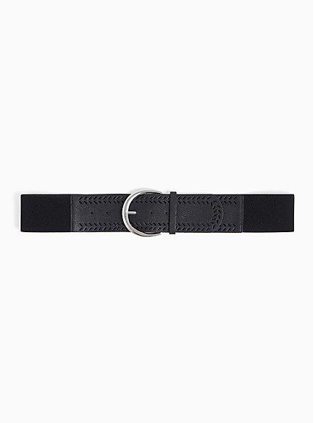 Plus Size Black Textured Faux Leather Stretch Belt, BLACK, hi-res