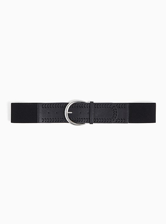Black Textured Faux Leather Stretch Belt, , hi-res