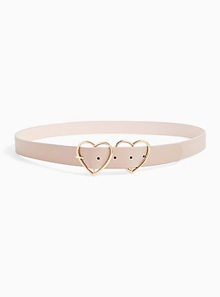 Blush Pink Faux Leather Double Heart Buckle Belt, BLUSH, alternate