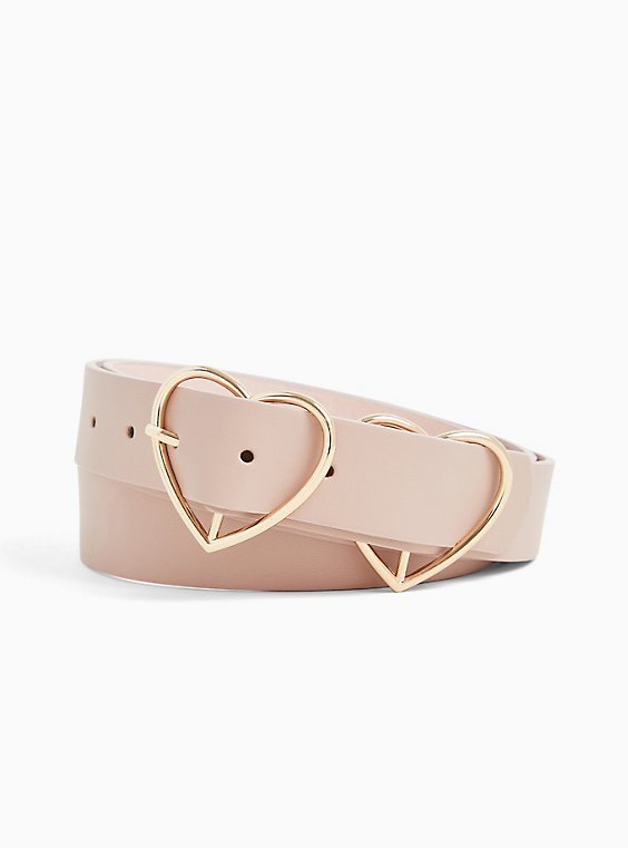 Blush Pink Faux Leather Double Heart Buckle Belt, , hi-res