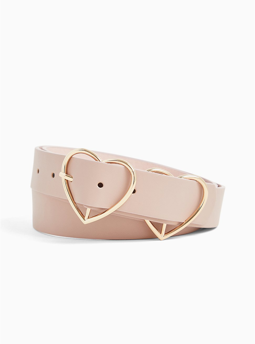 Blush Pink Faux Leather Double Heart Buckle Belt, BLUSH, hi-res