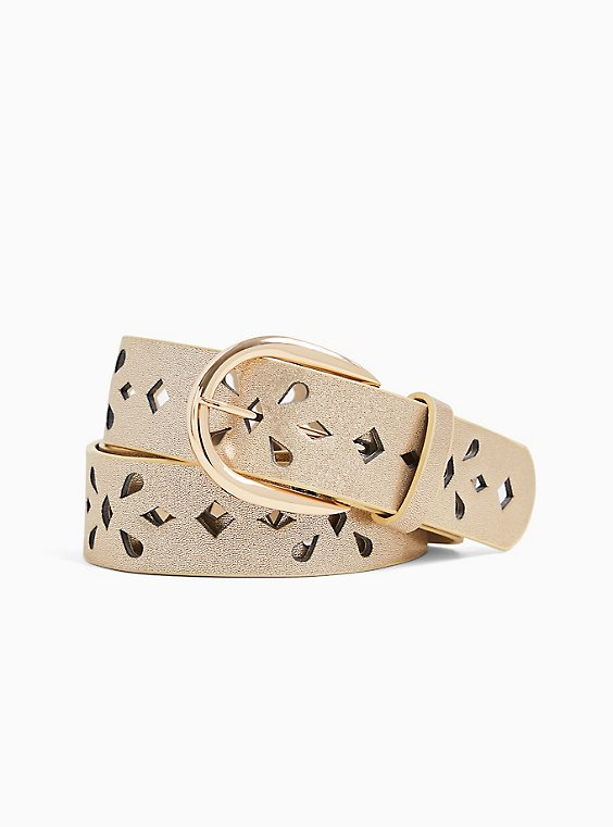 Plus Size Gold-Tone Metallic Faux Leather Laser Cut Belt, , hi-res