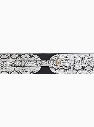 Grey Snakeskin Print Faux Leather Stretch Belt, BLACK, alternate