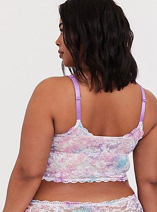 Plus Size Pink & Purple Tie Dye Lace Unlined Bralette, TIE DYE, alternate