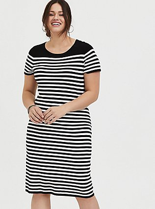 Plus Size Black & White Stripe Sweater-Knit Short Shift Dress, DEEP BLACK, hi-res