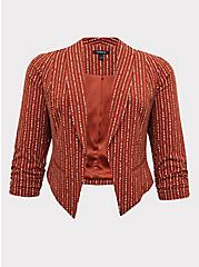 Rust Orange Dotted Stripe Crepe Cutaway Blazer, STRIPES, hi-res