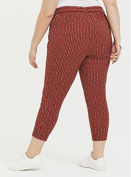 Rust Orange Dotted Stripe Crepe Self Tie Tapered Pant, STRIPES, alternate