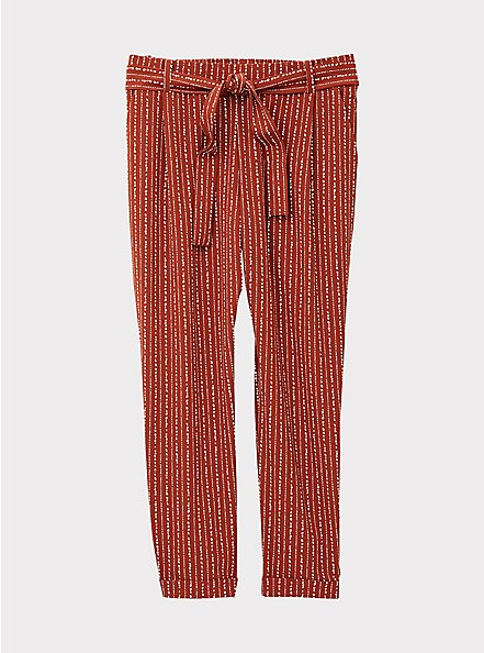 Rust Orange Dotted Stripe Crepe Self Tie Tapered Pant, STRIPES, hi-res