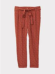 Rust Orange Dotted Stripe Crepe Self Tie Tapered Pant, STRIPES, hi-res