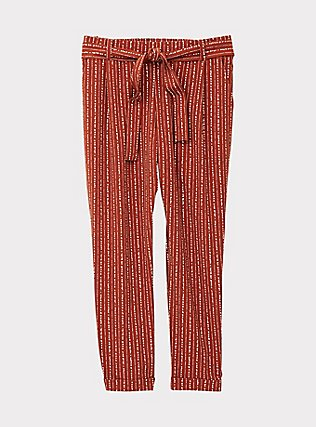 Rust Orange Dotted Stripe Crepe Self Tie Tapered Pant, STRIPES, flat