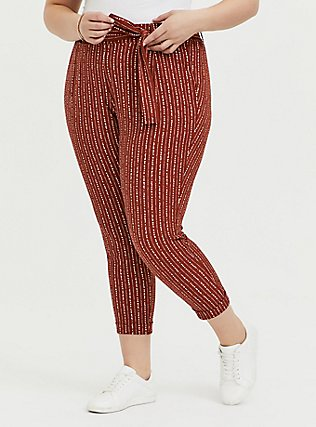 Rust Orange Dotted Stripe Crepe Tie Front Tapered Pant, STRIPES, hi-res