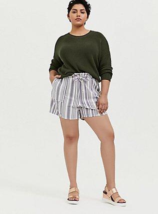 Plus Size Slate Grey Stripe Premium Ponte Drawstring Paperbag Waist Short, STRIPES, alternate