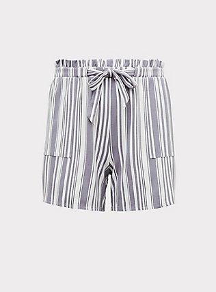 Plus Size Slate Grey Stripe Premium Ponte Drawstring Paperbag Waist Short, STRIPES, flat