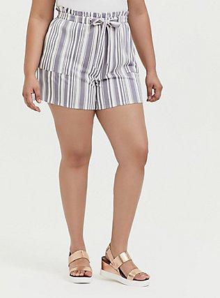 Plus Size Slate Grey Stripe Premium Ponte Drawstring Paperbag Waist Short, STRIPES, hi-res