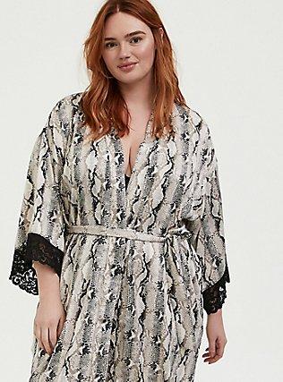Snakeskin Print Satin & Lace Trim Self Tie Robe, SNAKE - BROWN, alternate