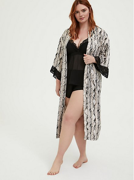 Plus Size Snakeskin Print Satin & Lace Trim Self Tie Robe, SNAKE - BROWN, alternate
