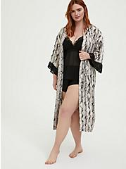 Snakeskin Print Satin & Lace Trim Self Tie Robe, SNAKE - BROWN, alternate