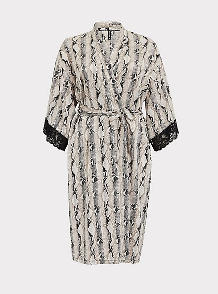 Plus Size Snakeskin Print Satin & Lace Trim Self Tie Robe, SNAKE - BROWN, hi-res