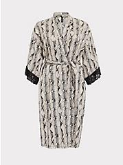 Snakeskin Print Satin & Lace Trim Self Tie Robe, SNAKE - BROWN, hi-res