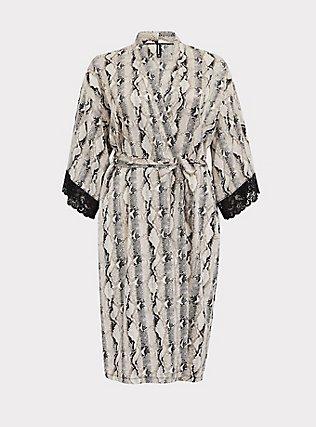 Snakeskin Print Satin & Lace Trim Self Tie Robe, SNAKE - BROWN, flat