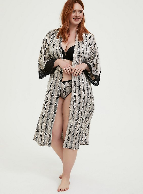 Plus Size Snakeskin Print Satin & Lace Trim Self Tie Robe, , hi-res