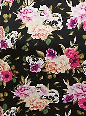 Plus Size Black Skull Floral Satin & Lace Trim Self Tie Robe, LOUD SKULL FLORAL, alternate