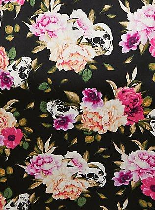 Black Skull Floral Satin & Lace Trim Self Tie Robe, LOUD SKULL FLORAL, alternate