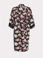 Plus Size Black Skull Floral Satin & Lace Trim Self Tie Robe, LOUD SKULL FLORAL, hi-res