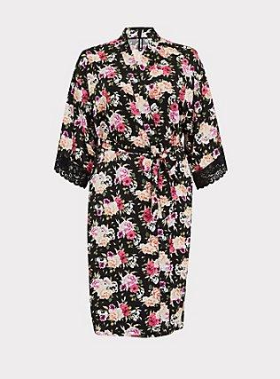 Black Skull Floral Satin & Lace Trim Self Tie Robe, LOUD SKULL FLORAL, flat