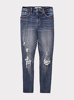 High Rise Straight Jean - Medium Wash with Raw Hem, CALIFORNIA COAST, flat