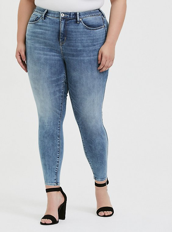 Plus Size Sky High Skinny Jean- Super Soft Light Wash, , hi-res