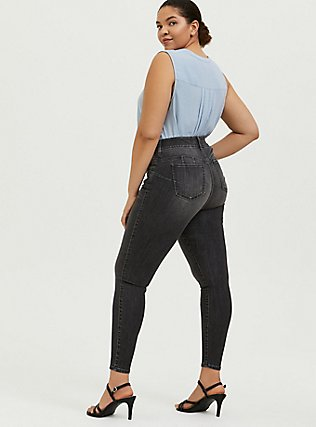 Bombshell Skinny Jean - Super Soft Stretch Grey Wash, IN SPADES, alternate