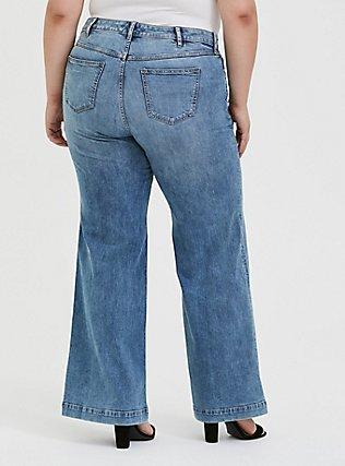 Plus Size High Rise Wide Leg Jean - Vintage Stretch Light Wash, SLOW MOTION, alternate
