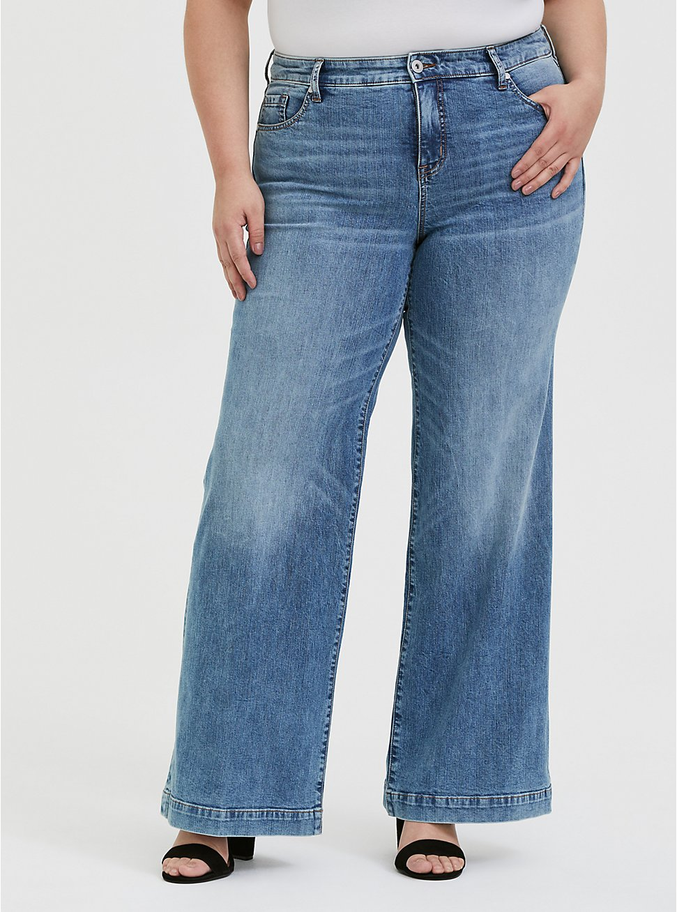 High Rise Wide Leg Jean - Vintage Stretch Light Wash, SLOW MOTION, hi-res