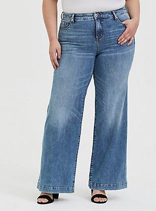 Plus Size High Rise Wide Leg Jean - Vintage Stretch Light Wash, SLOW MOTION, hi-res