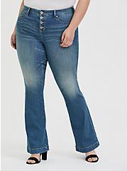 Flare Jean - Vintage Stretch Medium Wash, BACKSEAT BINGO, hi-res