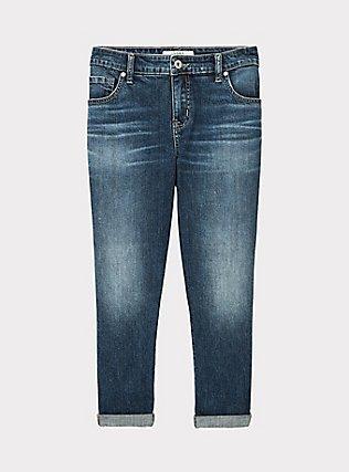 Crop Mid Rise Skinny Jean - Vintage Stretch Medium Wash, SHELBY 68, flat